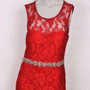 City Studio Red Lace Sleeveless Dress (13)